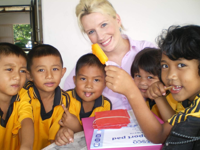 Shannon teaching english in Thailand